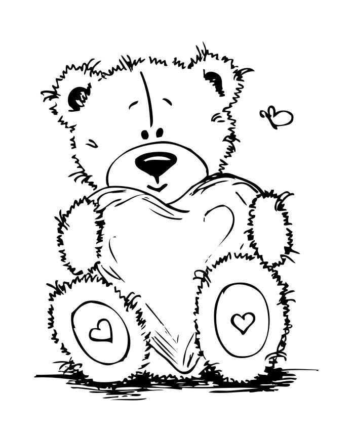 Раскраска плюшевый Тедди с сердечком