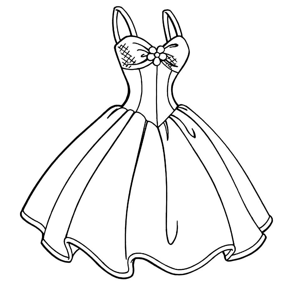 Раскраска платье на бретельках с пышной юбкой