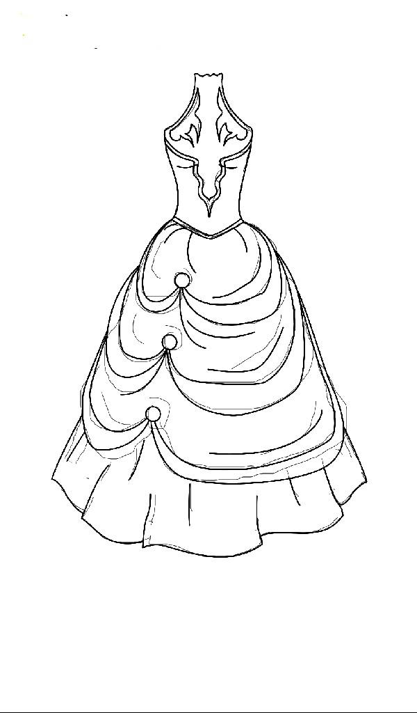 Раскраска пышное бальное платье
