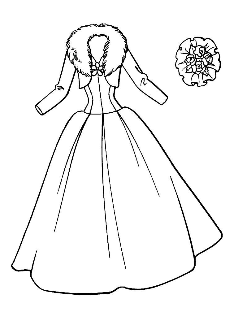Раскраска платье с меховым воротником
