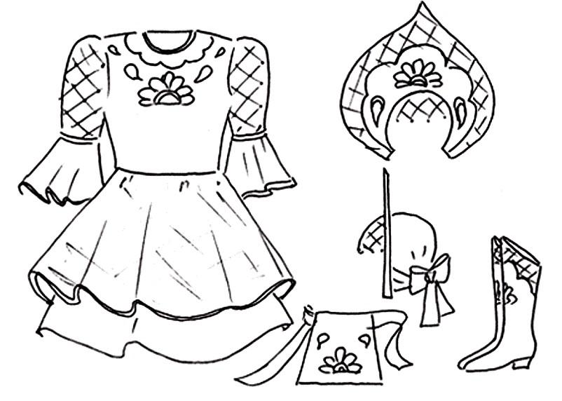 Раскраска Русско народное платье