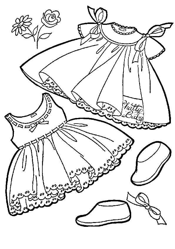 Раскраска платья для девочек