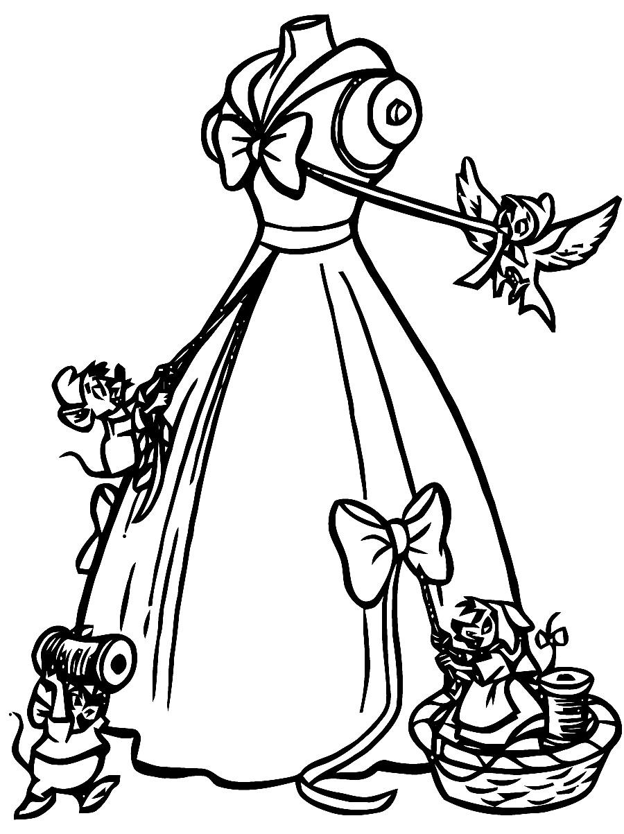 Раскраска платье золушки