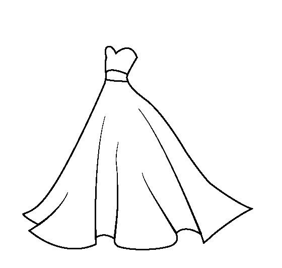 Раскраска шикарное вечернее платье