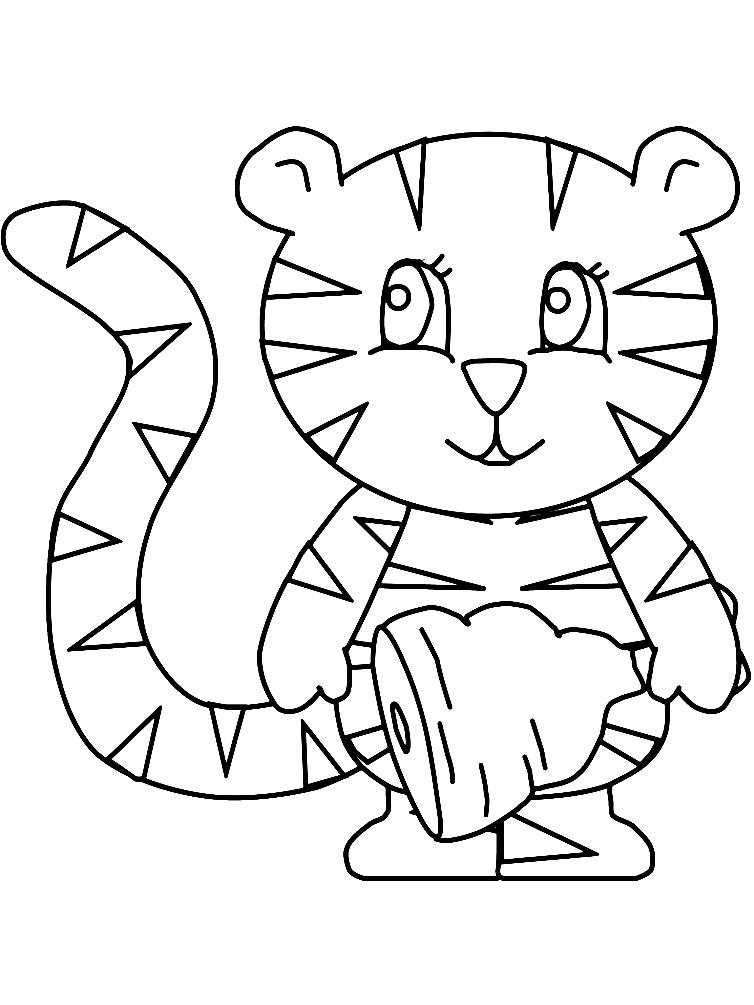 Раскраска тигр для малышей
