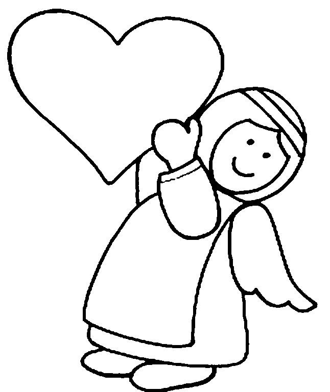 Раскраска ангелочек с сердечком