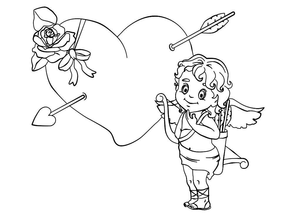 Раскраска амур с сердцем