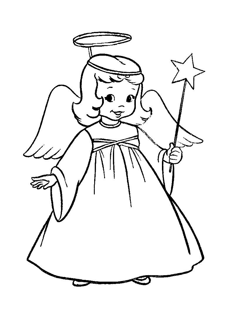 Раскраска девочка ангел