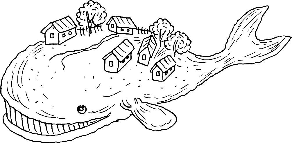 Раскраска сказочный кит