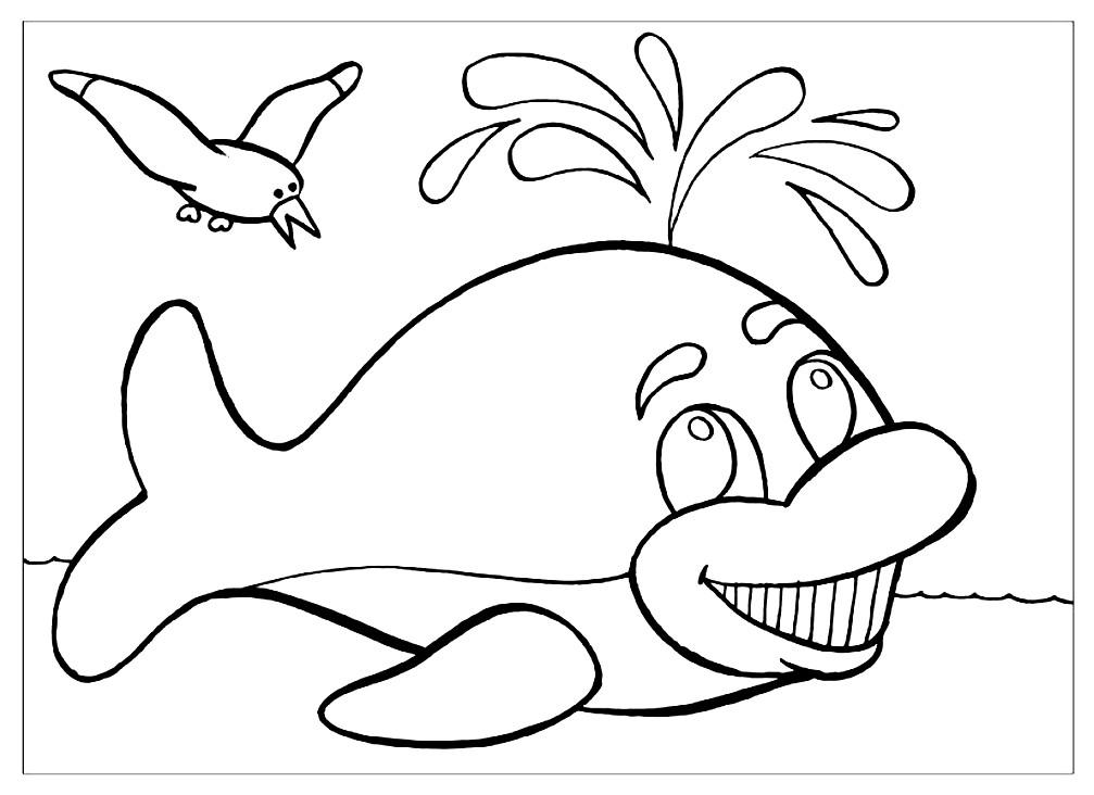 Раскраска добрый кит