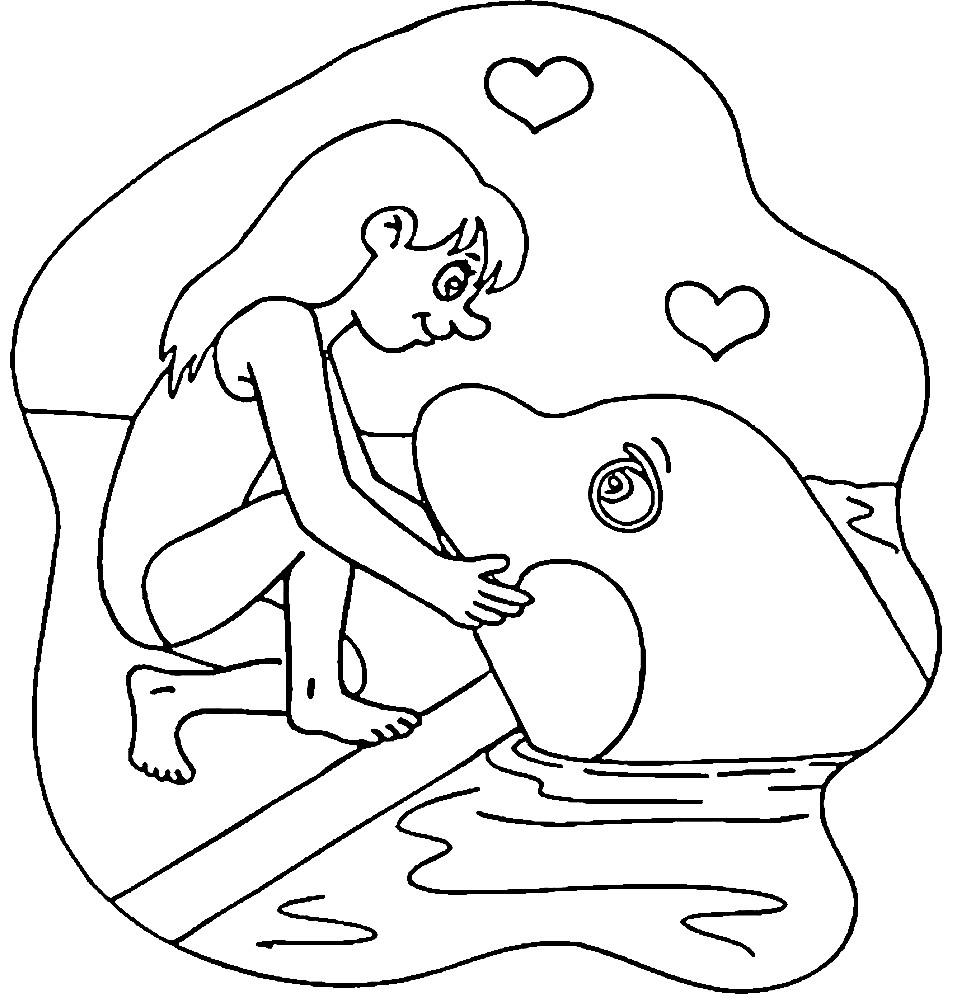 Раскраска косатка и девочка