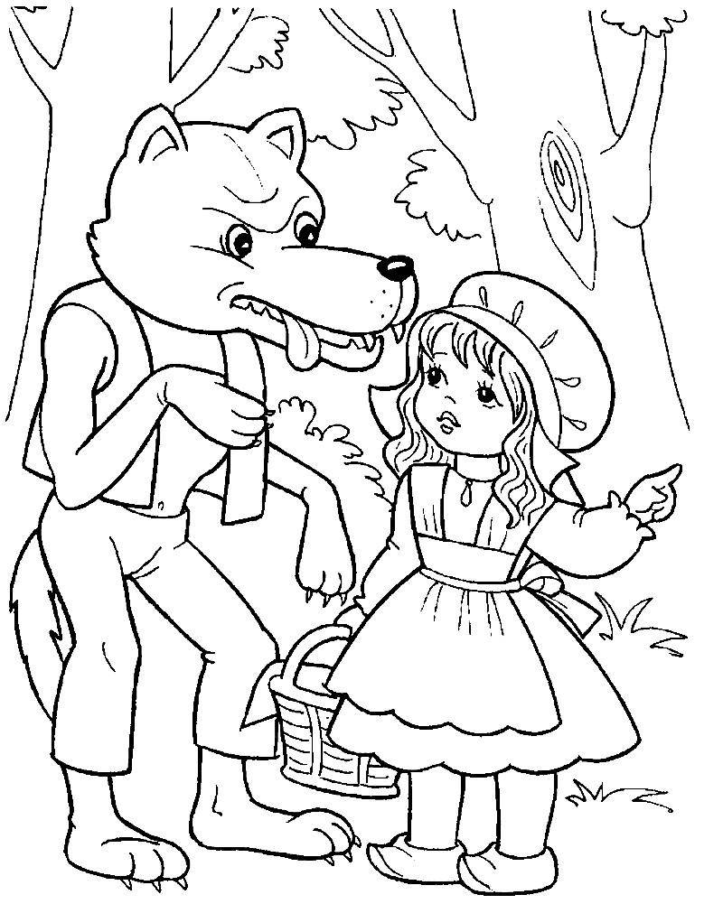 Раскраска Красная Шапочка и Серый Волк