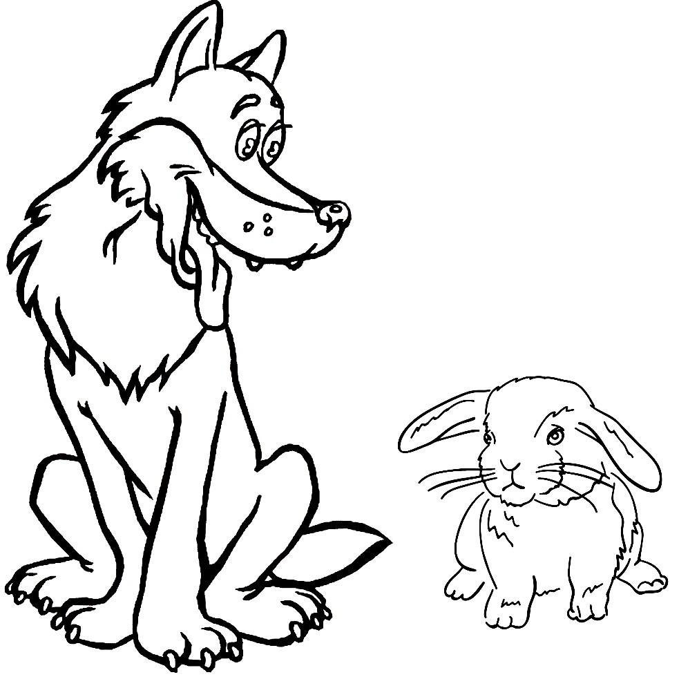 раскраска волк и заяц раскраски для детей распечатать