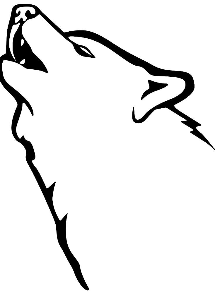 Раскраска волк воет на луну