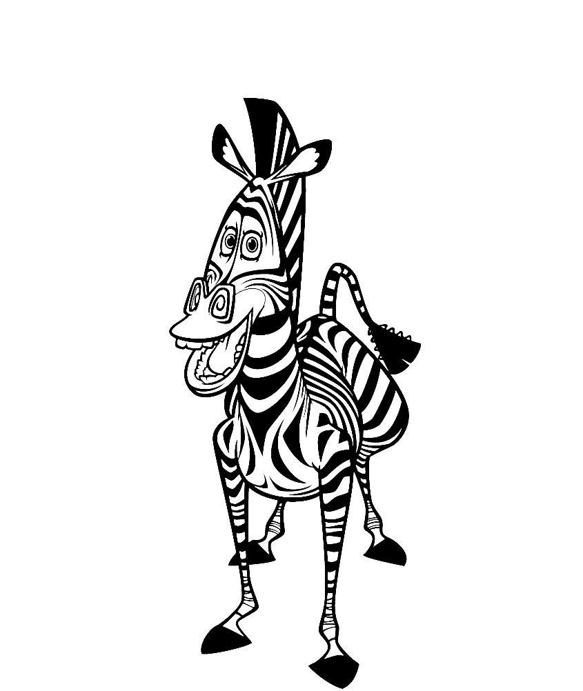 Раскраска зебра Марти