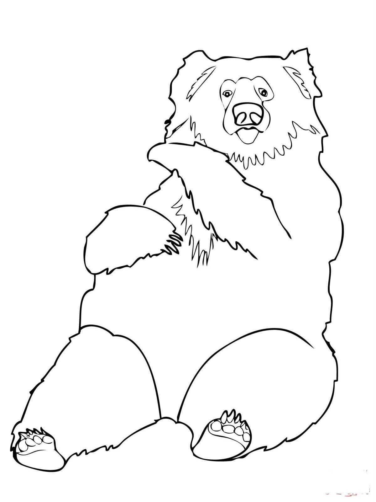 Раскраска медведь лени