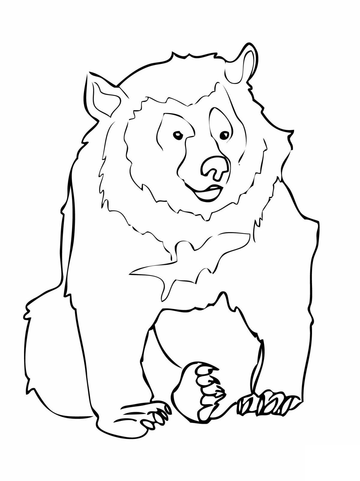 Раскраска черный медведь