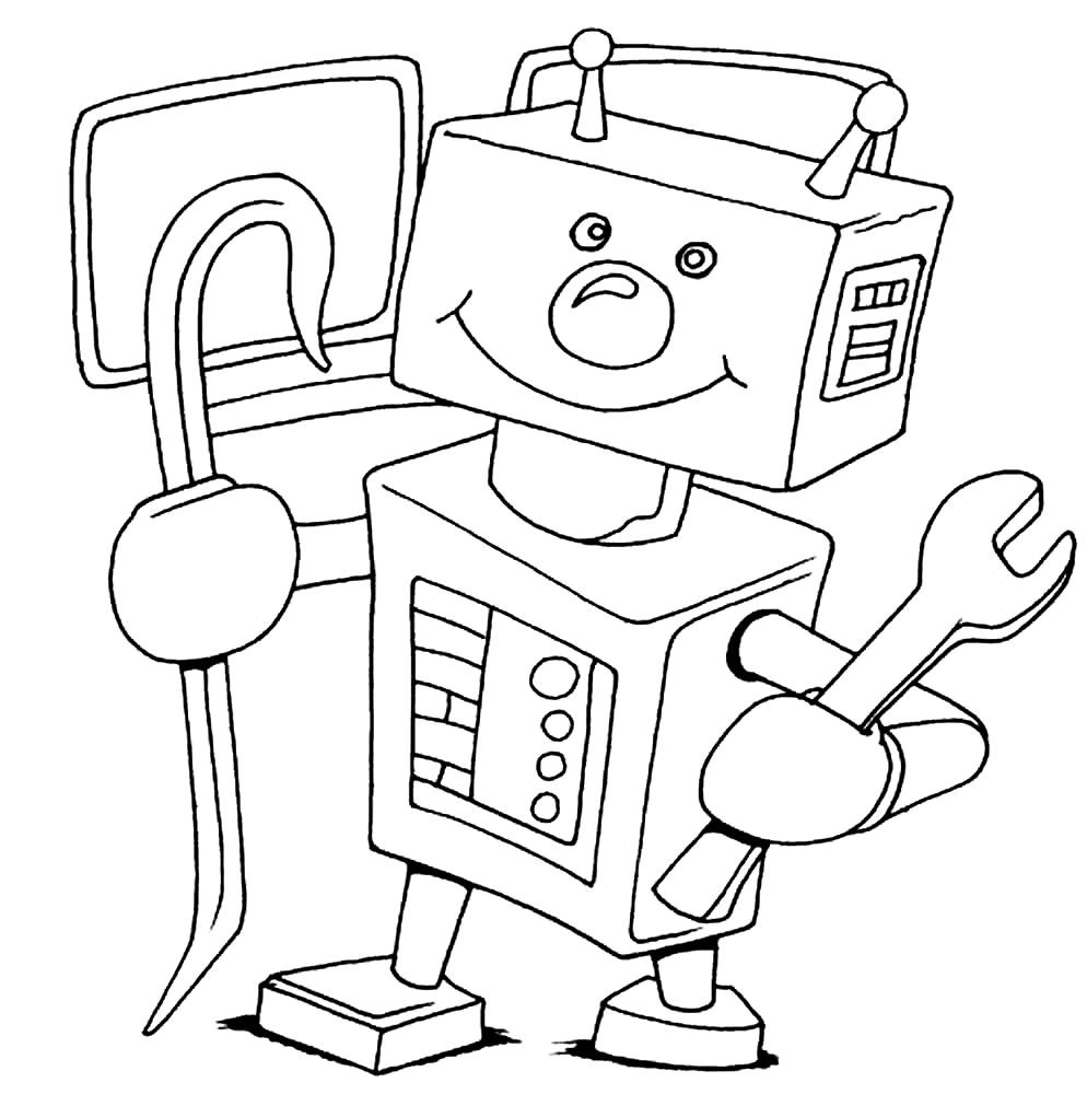 Раскраска смешной робот
