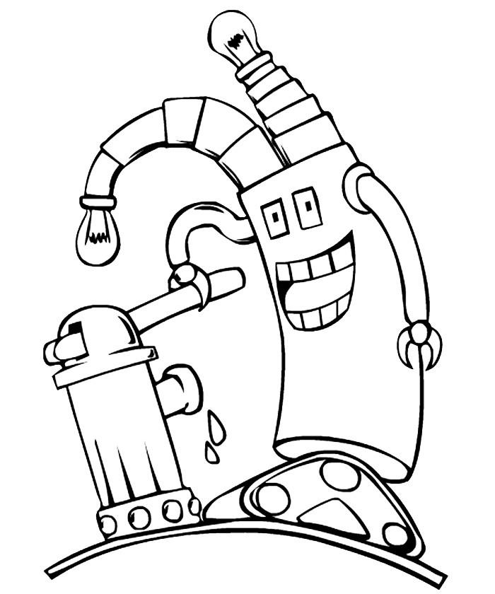 Раскраска робот весельчак