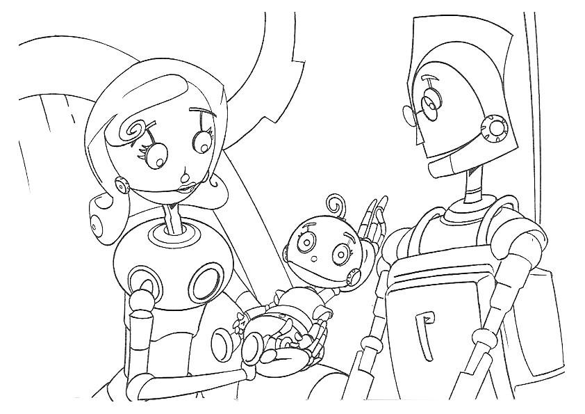 Раскраска семейство роботов