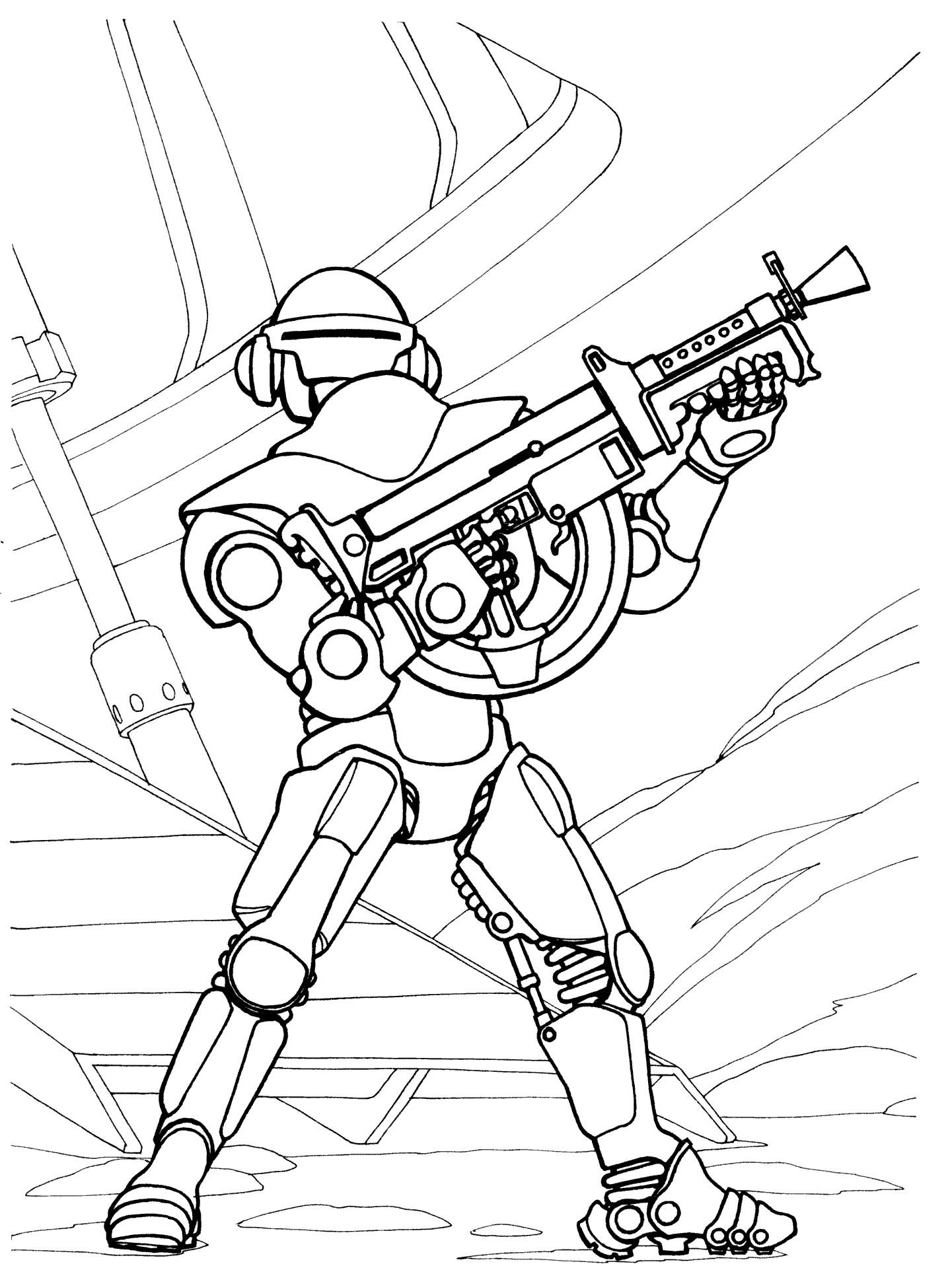Раскраска робот пехотинец