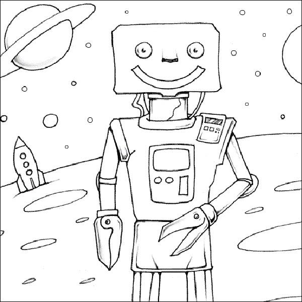 Раскраска планета роботов
