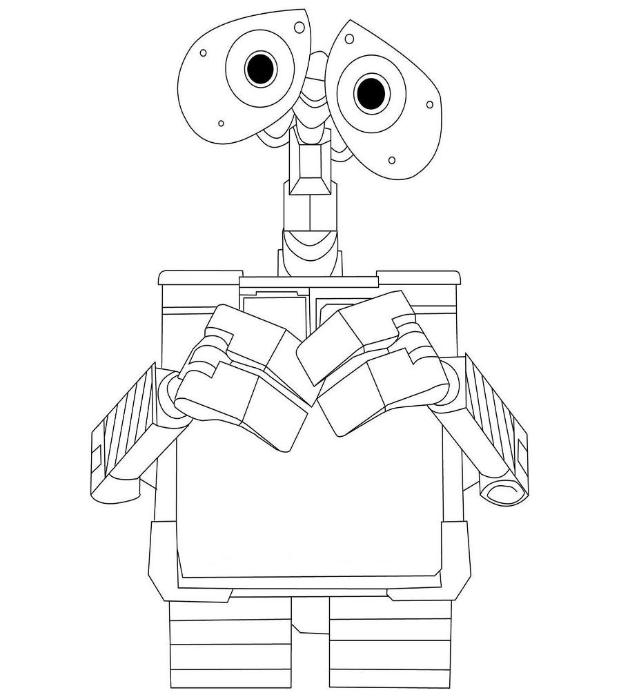 Раскраска робот с большими глазами