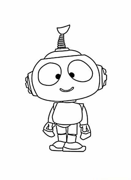 Раскраска малыш робот