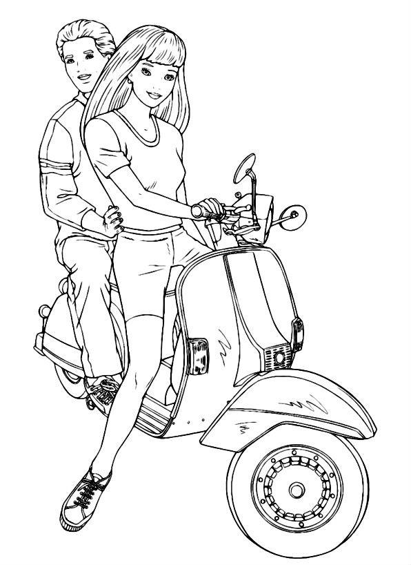 Раскраска Барби и Кен на скутере