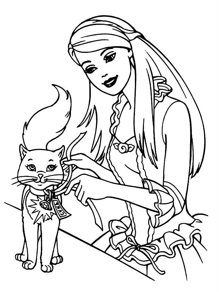 Раскраска Барби с котенком