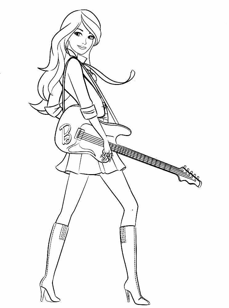 Раскраска Барби любит музыку