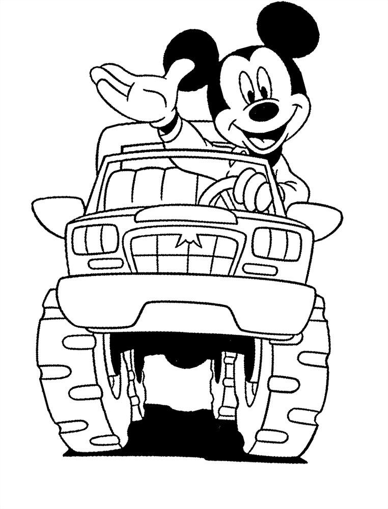 Раскраска машина Микки