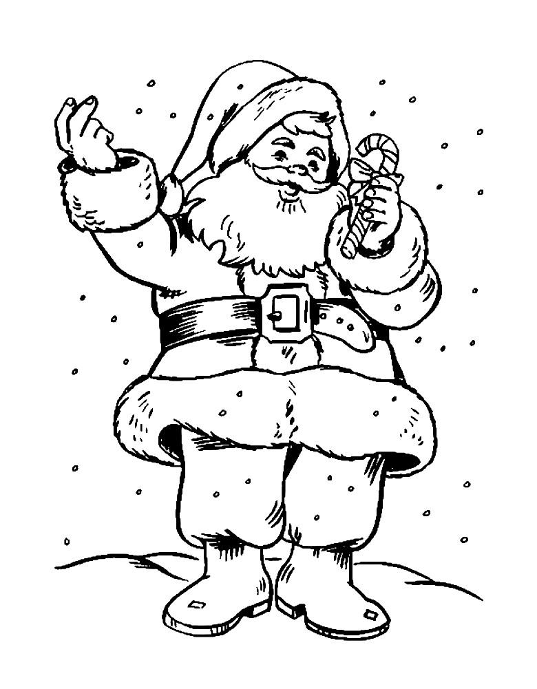 Раскраска Санта Клаус с конфетой