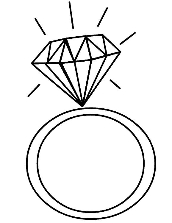 Раскраска кольца с бриллиантом