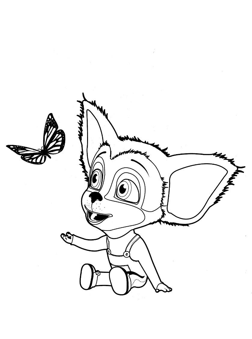 Раскраска бабочка и Малыш