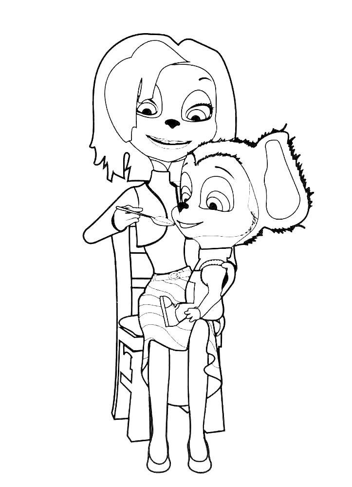 Раскраска Мама Барбоскиных и малыш
