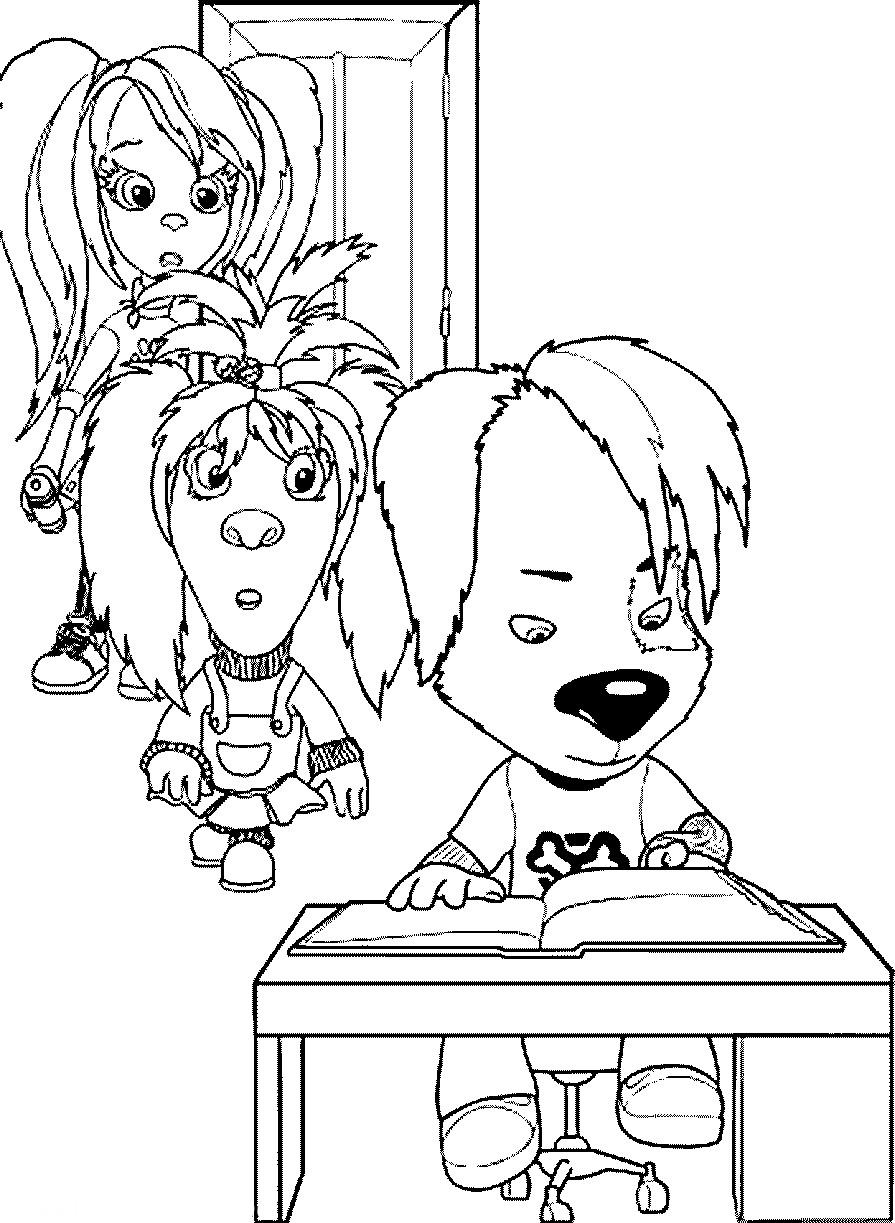Раскраска Лиза Роза и Дружок