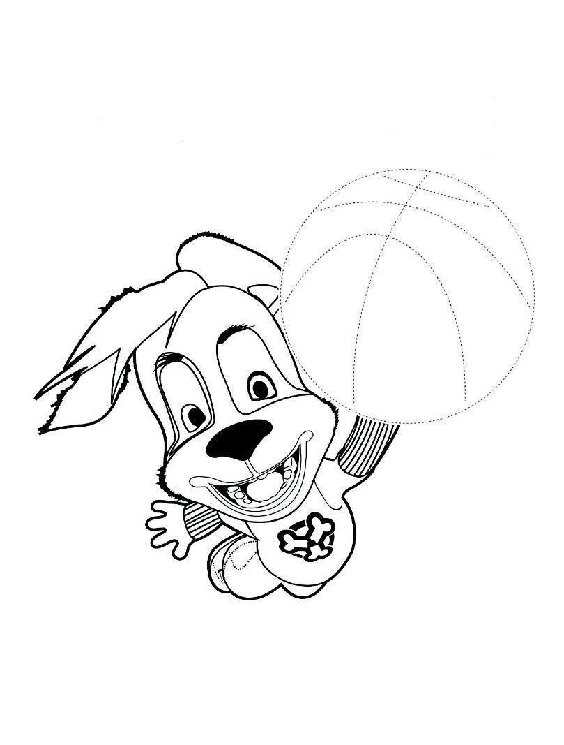 Раскраска Дружок с мячом
