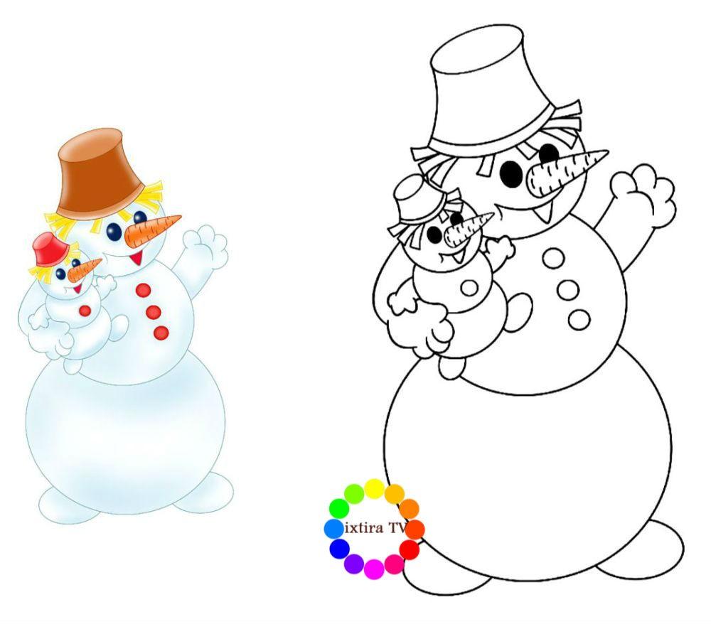 Раскраска снеговик по образцу