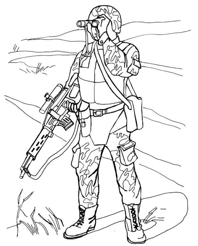 Раскраска военнослужащий