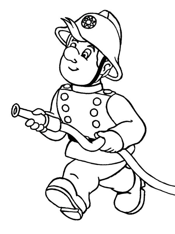 Раскраска пожарник