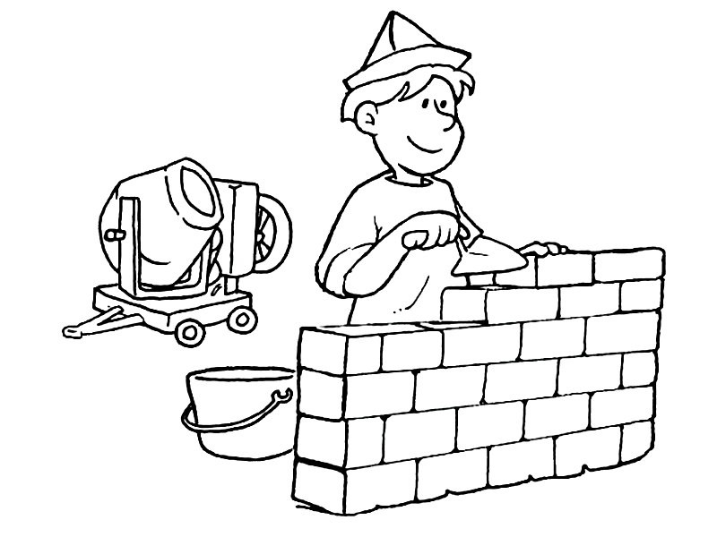 Раскраска строитель