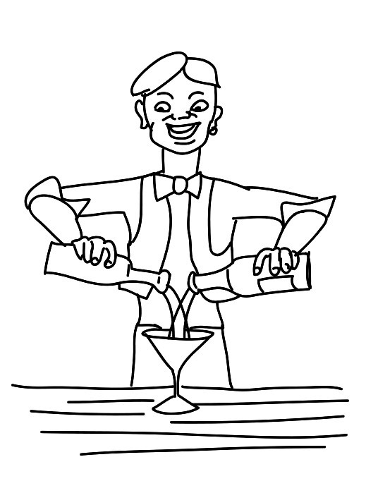 Раскраска бармен