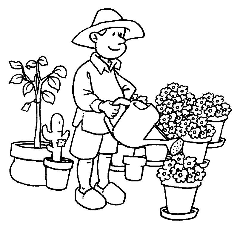 Раскраска садовник-флорист
