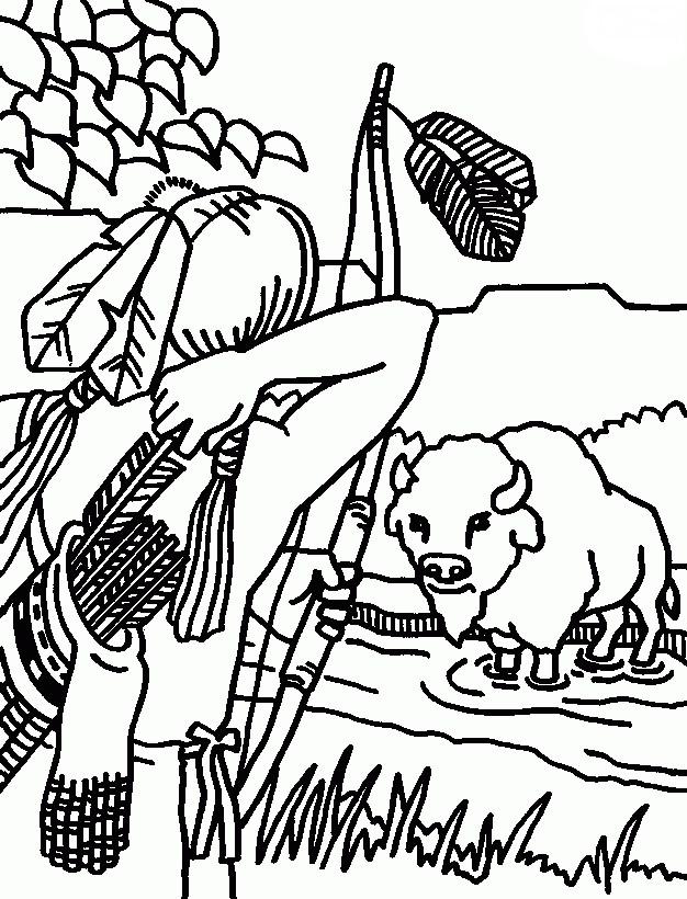 Раскраска охота на зубра