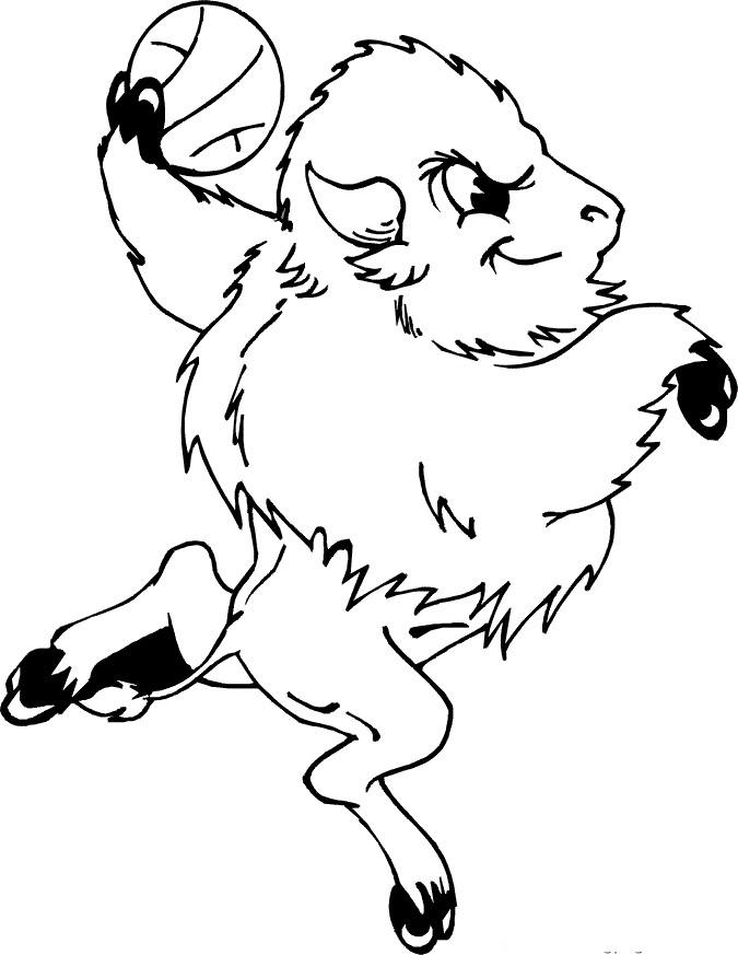 Раскраска бизон с мячом
