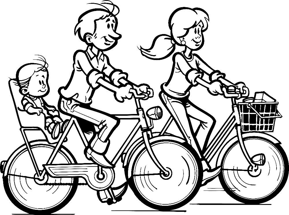 Раскраска семья на велосипедах