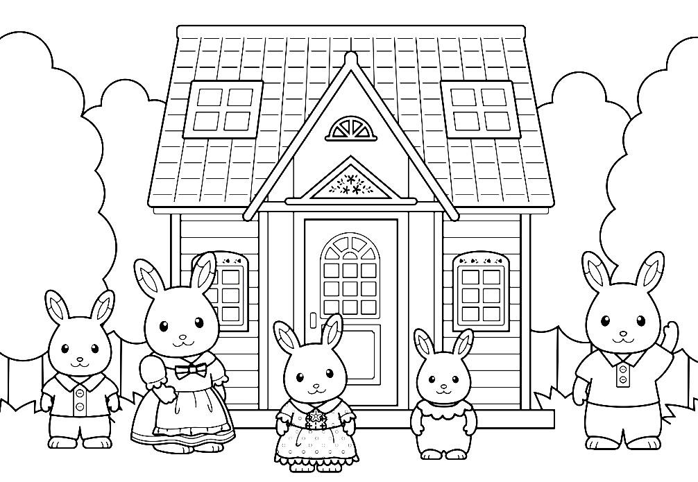 Раскраска мультяшная семейка