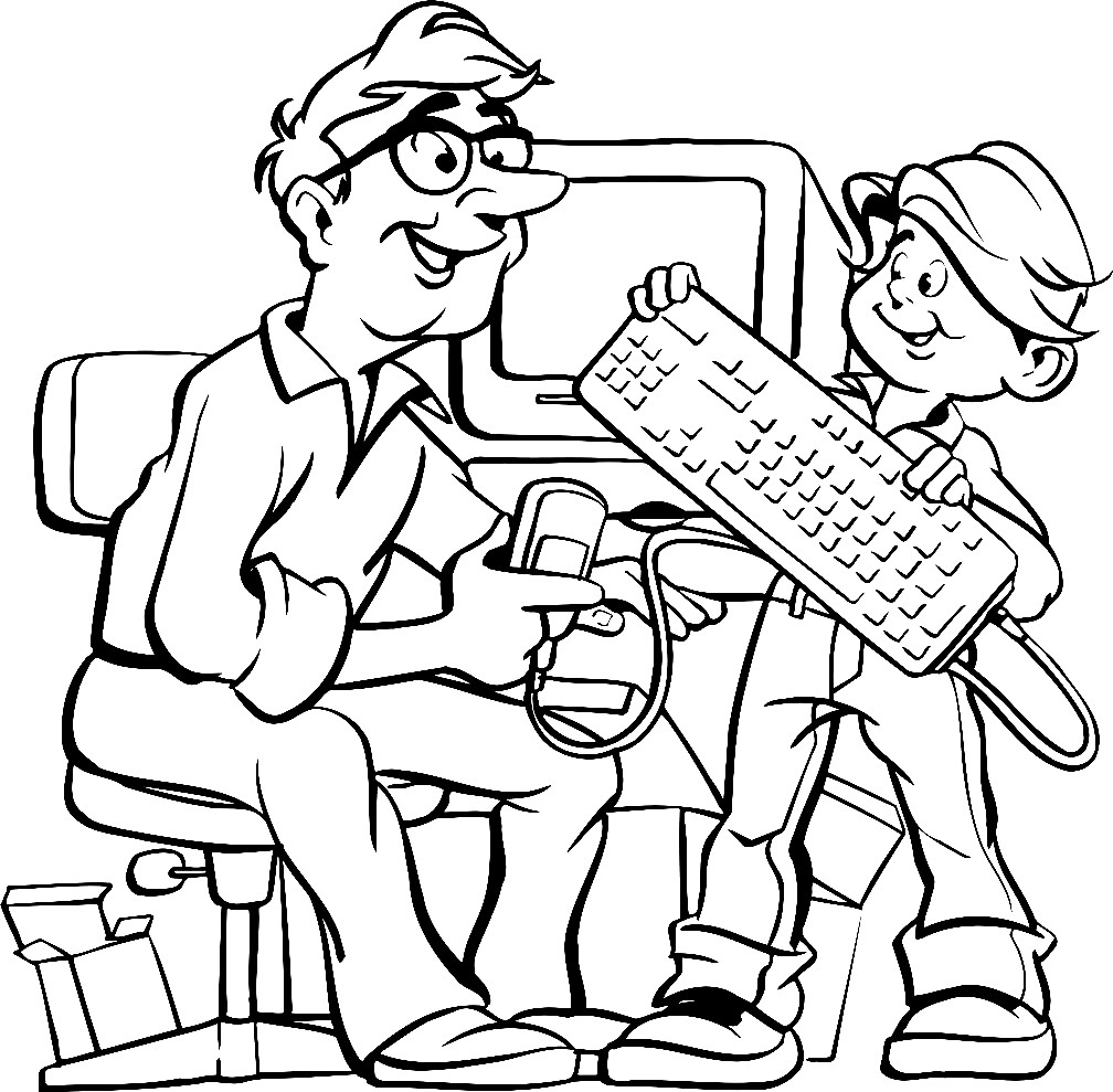 Раскраска папа с сыном за компьютером