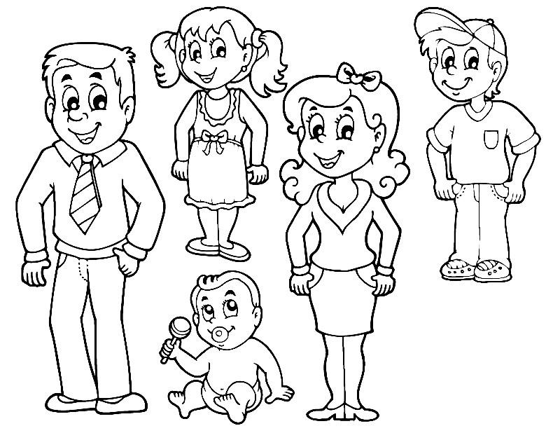 Раскраска папа мама и дети